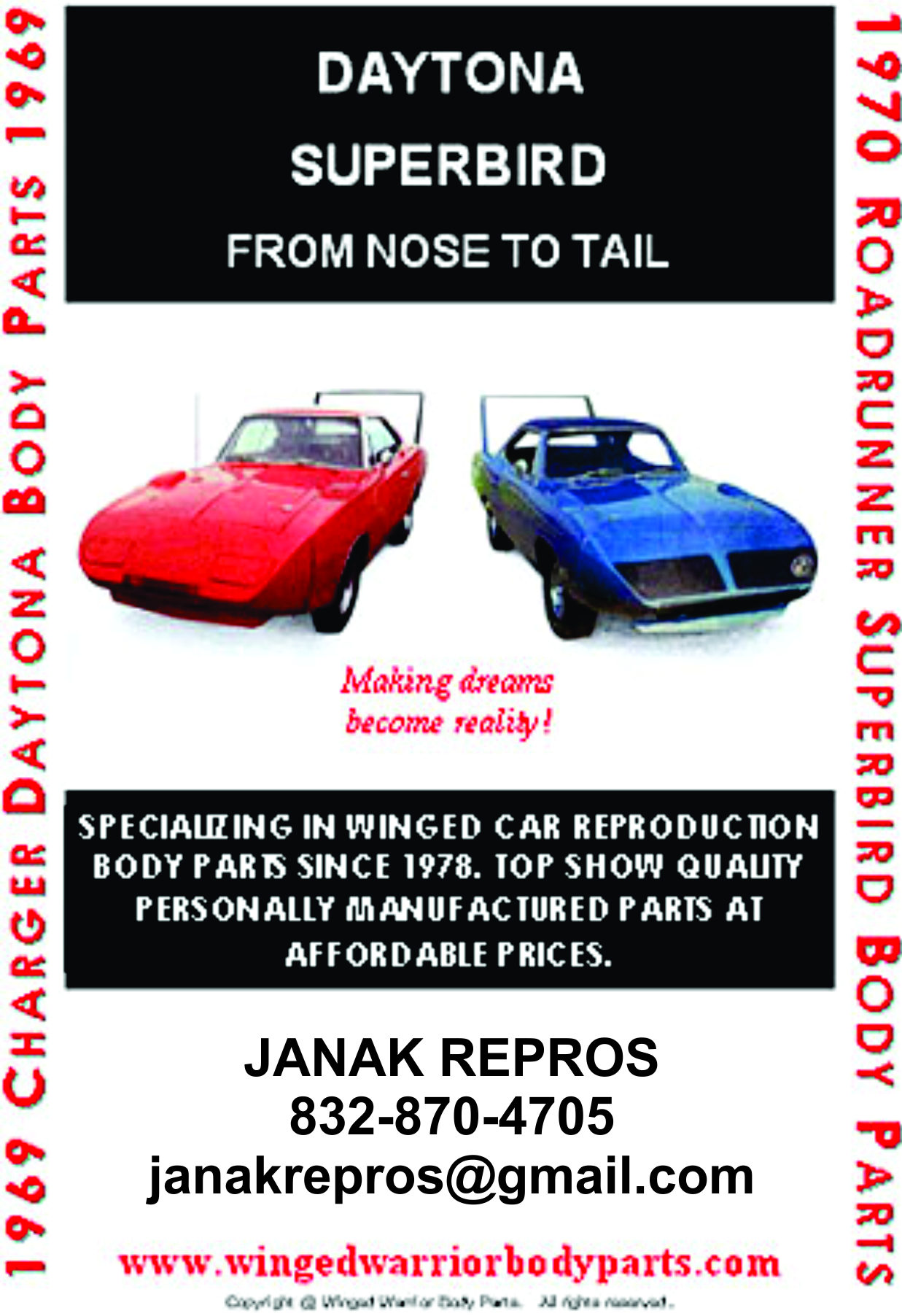 Custom Fabricated Wing Car Conversion Kit - Superbird and